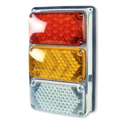 Tri: 4x6 Lamps: LED Stop&Tail, Amber Seq Turn, Backup w/Packard-Rh