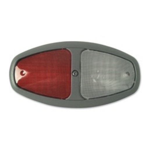 Dual LED Dome, Ground Sw, Bk Grey, Red/Clear