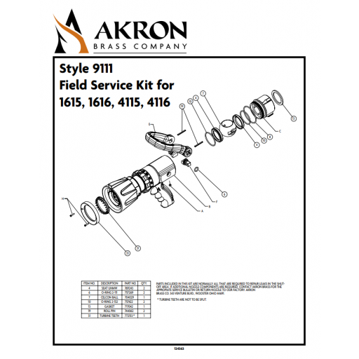 Field Service Kit for Style 1615, 1616, 4115, 4116