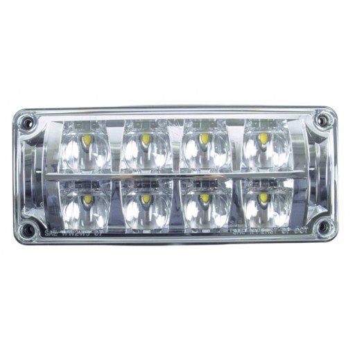 3x7 Diamondback LED Warning Lamp Head, White LEDs, Clear Optics, Clear Lens