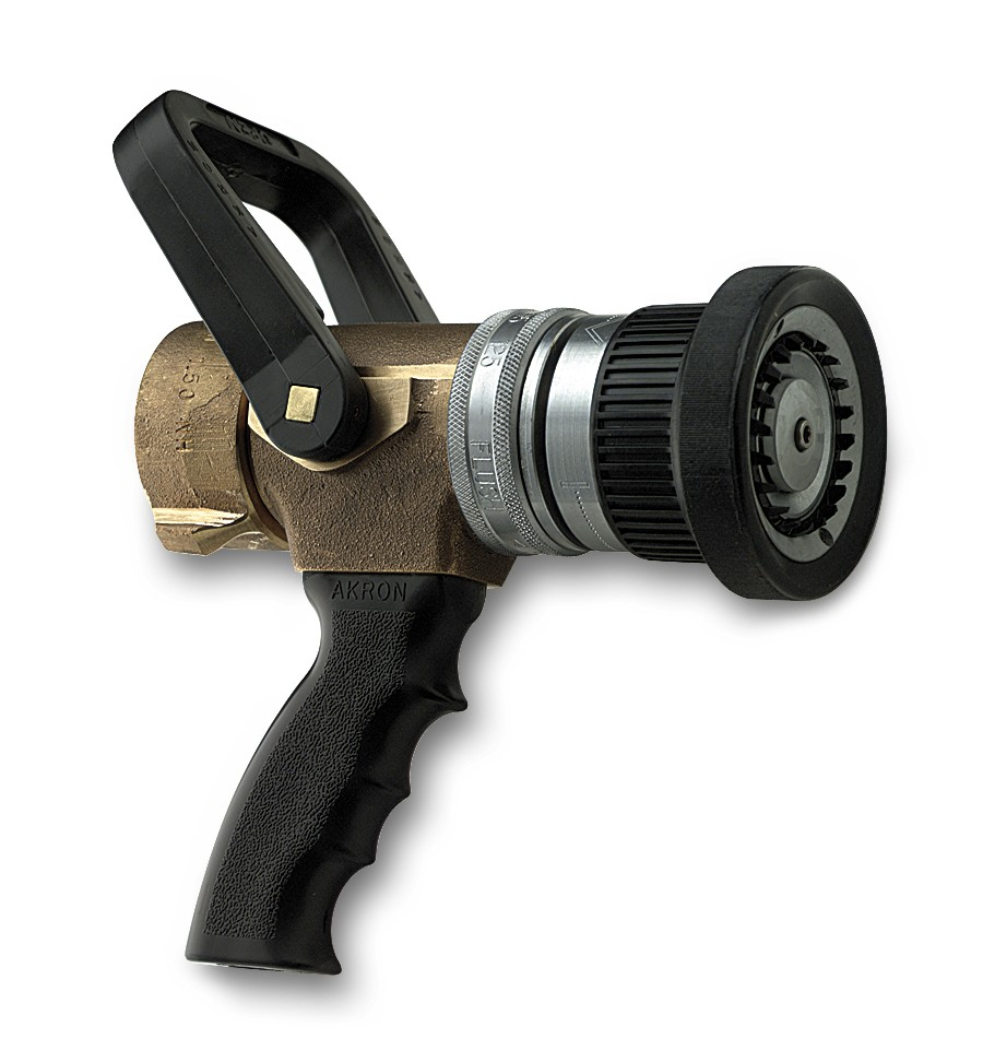 Industrial turbojet fire hose nozzle with pistol grip