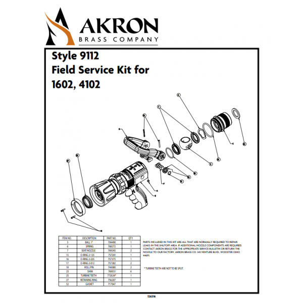 Field Service Kit for Style 1602, 4102