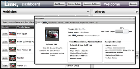 Emergency vehicle diagnostic dashboard